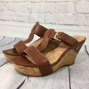 Guess Kassidy brown vegan leather & cork wedges